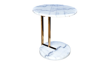 carrara marble side table ark interiors Vancouver high end furniture